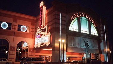 An outside view of Hollywood Casino in Aurora, Illinois, at night.