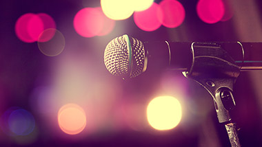 generic microphone image with bokeh light background