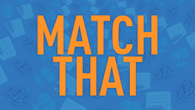 "The words ""Match That"" in orange on a blue background."